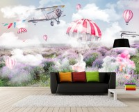 3D Look Misty Lavender and Hot Air Balloon Wallpaper Mural