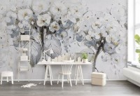 3D Look Oil Painting White Yellow Flowers Wallpaper Mural