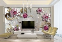 3D Look Pink Floral with Flourish Pattern Wallpaper Mural