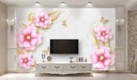 3D Look Soft Pink Floral Wallpaper Mural