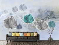 Abstract Floral Dandelion Wallpaper Mural