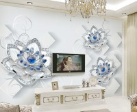 Blue Diamond Swarovski Floral Wallpaper Mural
