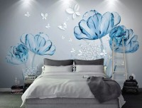 Blue Transparent Floral and White Butterflies Wallpaper Mural