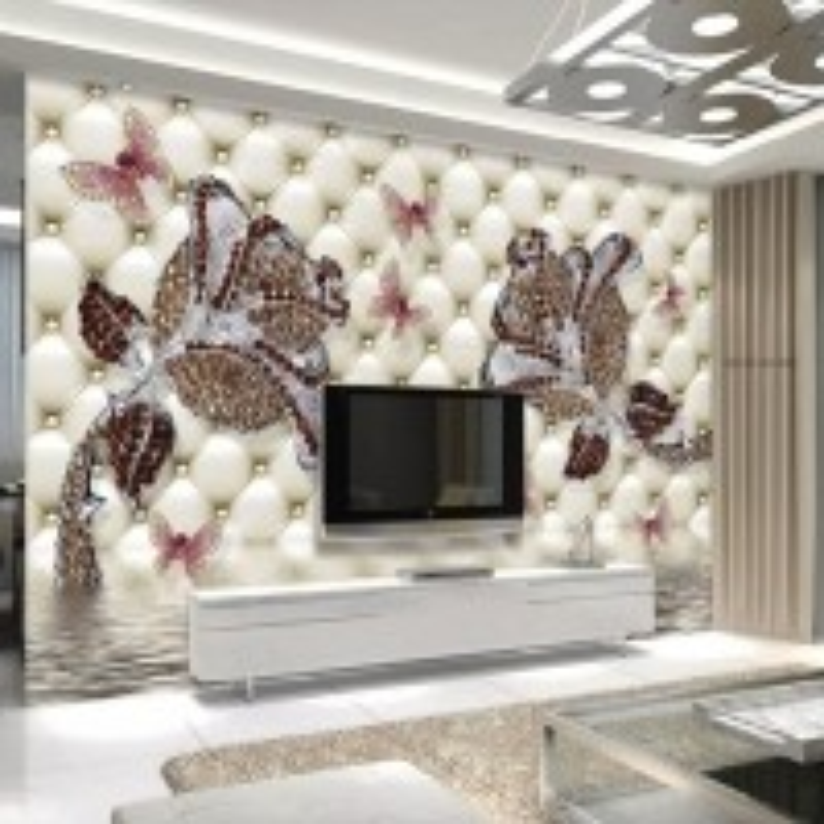 Brown Diamond Roses and Butterflies Wallpaper Mural