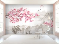Cherry Blossom with Mountain Landscape Wallpaper Mural