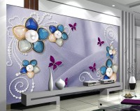 Colorful Swarovski Floral Wallpaper Mural