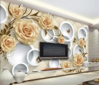 Cream Rose Floral and Geometric Circle Wallpaper Mural