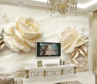 Cream Rose Floral with Water Pattern Wallpaper Mural