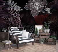Dark Leaf Wallpaper Mural