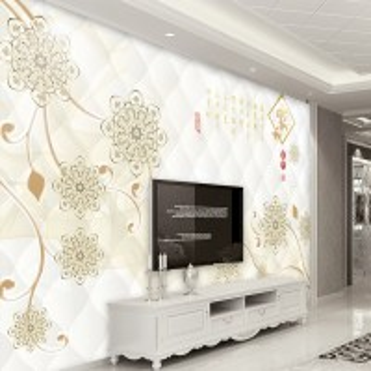 Diamond Flower with Damask Pattern Wallpaper Mural