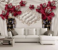 Diamond Red Lily Flowers Wallpaper Mural