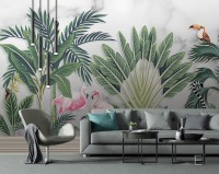 Flamingo Toucan with Vintage Forest Wallpaper Mural