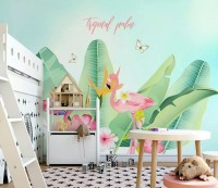 Flamingo with Tropical Palm Wallpaper Mural