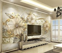 Gold Daisy Jewelry Floral Wallpaper Mural