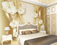 Gold Orchid Floral with Flourish Pattern Wallpaper Mural