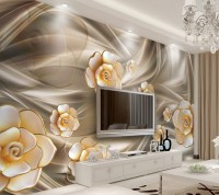 Gold Peony Floral Wallpaper Mural
