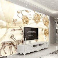 Gold Rose Floral with Horned Deer Wallpaper Mural