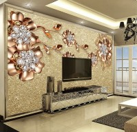 Gold Swarovski Floral Wallpaper Mural