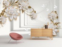 Lily Floral with Abstract Corridor Wallpaper Mural