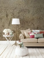 Monochrome Plants with Leaf Pattern Wallpaper Mural