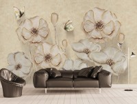 Monochrome Poppy Flower Wallpaper Mural
