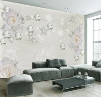 Nordic Rose Floral with Stars Wallpaper Mural