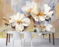 Oil Painting White Floral Wallpaper Mural