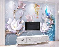 Peacock with Lily Floral Wallpaper Mural