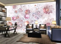 Pink Crystal Daisy Floral Wallpaper Mural