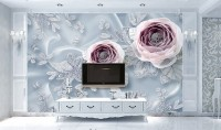 Pink Diamond Rose Floral Wallpaper Mural