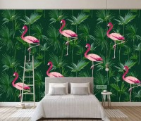 Pink Flamingo in the Tropical Forest Wallpaper Mural