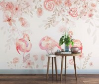 Pink Flamingo with Pink Flowers Wallpaper Mural