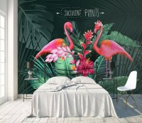 Pink Flamingo with Tropical Leaves Wallpaper Mural