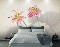 Pink Floral with Charcoal Lotus Flower Reflection Wallpaper Mural