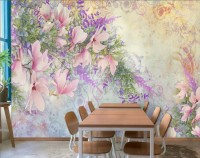 Pink Magnolia Florals and Purple Blossom Wallpaper Mural
