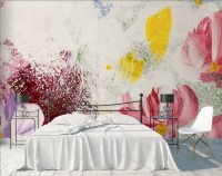 Pink Red Acyrlic Floral Bouqet Wallpaper Mural