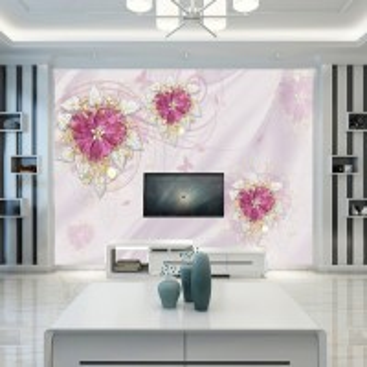 Pink Swarovski Flower Wallpaper Mural