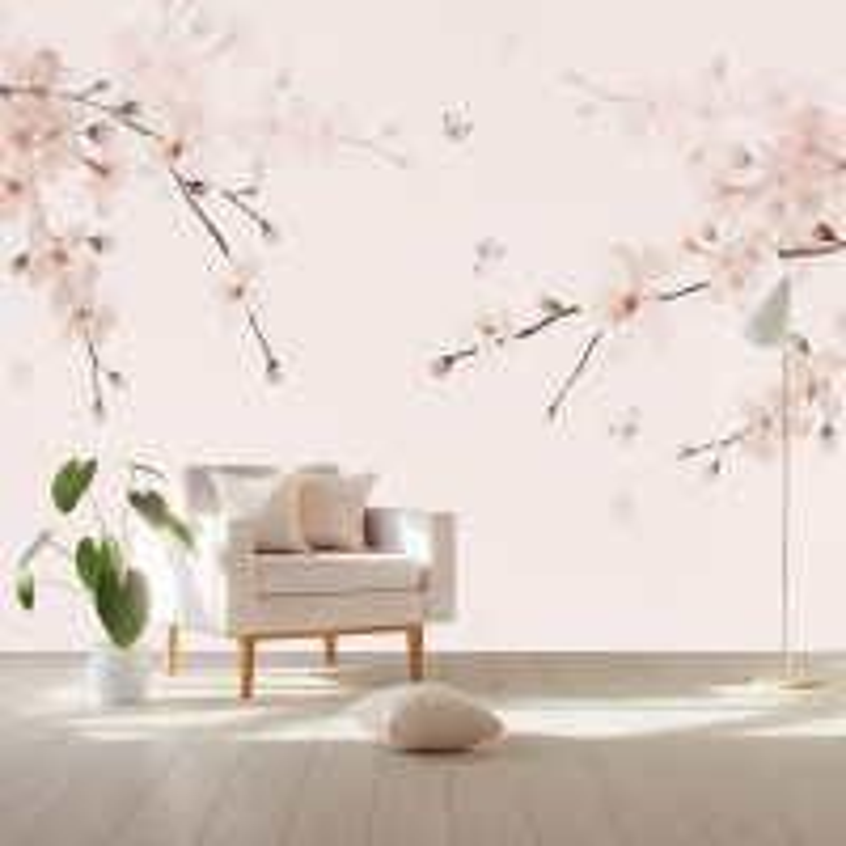 Plum Floral Art Wallpaper Mural