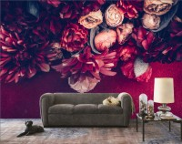 Red Dahlia Rose Floral Bouqet Wallpaper Mural