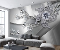 Silver Crystal Daisy Floral Wallpaper Mural