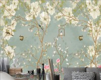 Soft Chinese White Florals with Birds Wallpaper Mural