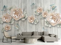Soft Floral with Butterfly Wallpaper Mural