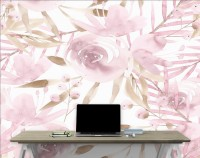 Soft Pink Peony Floral with Brown Leaves Pattern Wallpaper Mural