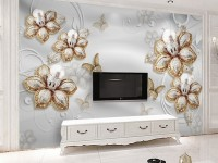 Swarovski Lily Floral with Gold Butterfly Wallpaper Mural