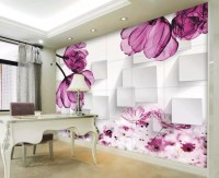 Transparent Pink Floral Wallpaper Mural
