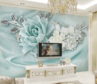 Turquoise Floral White Daisy Wallpaper Mural