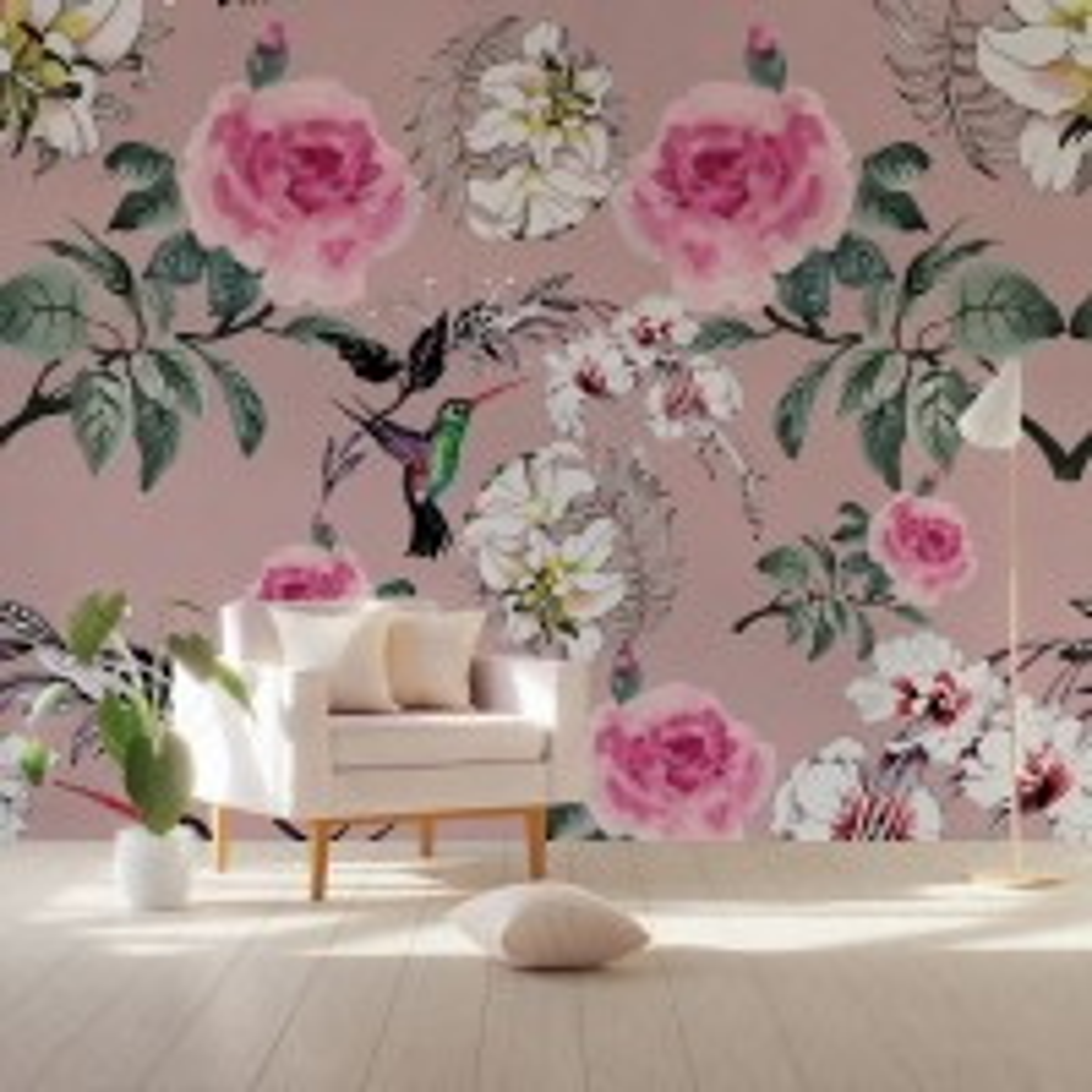 Vintage Pink Floral with Little Birds Wallpaper Mural