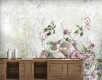 Vintage Style Watercolor Pink Florals Wallpaper Mural