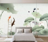 Watercolor Lotus Flower and Butterflies Wallpaper Mural