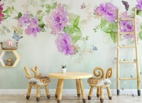 Watercolor Peony Floral Wallpaper Mural